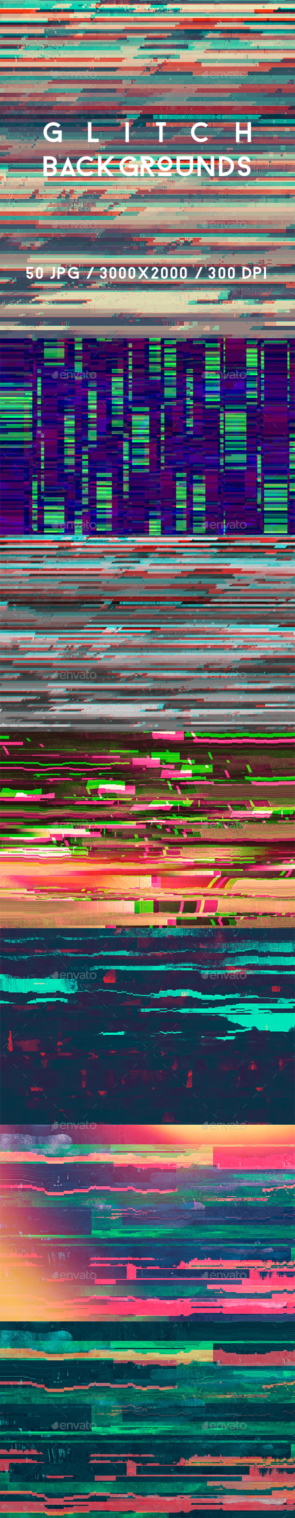 50 Glitch Backgrounds - Abstract Backgrounds