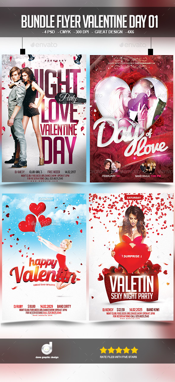 Bundle Flyer Valentine Day 01 - Clubs & Parties Events