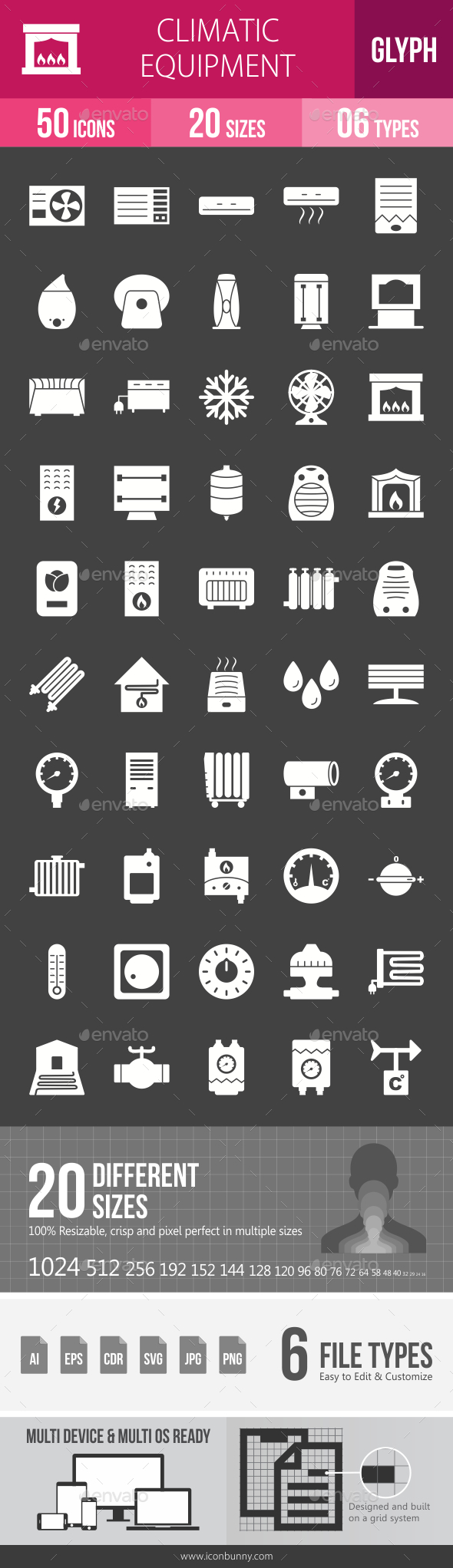 Climatic Equipment Glyph Inverted Icons - Icons