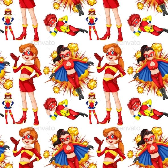 Seamless Female Superhero in Red - People Characters