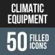 Climatic Equipment Flat Round Corner Icons