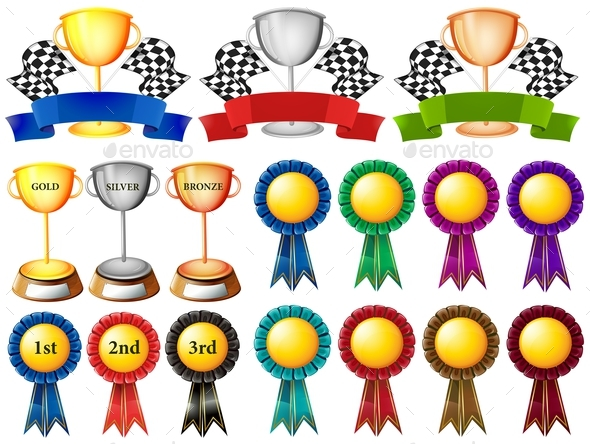 Set of Trophy and Ribbons - Miscellaneous Conceptual