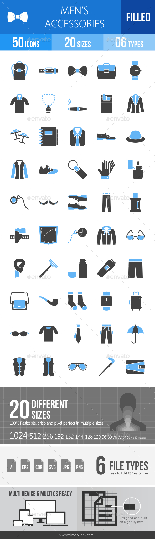 Men's Accessories Blue & Black Icons - Icons