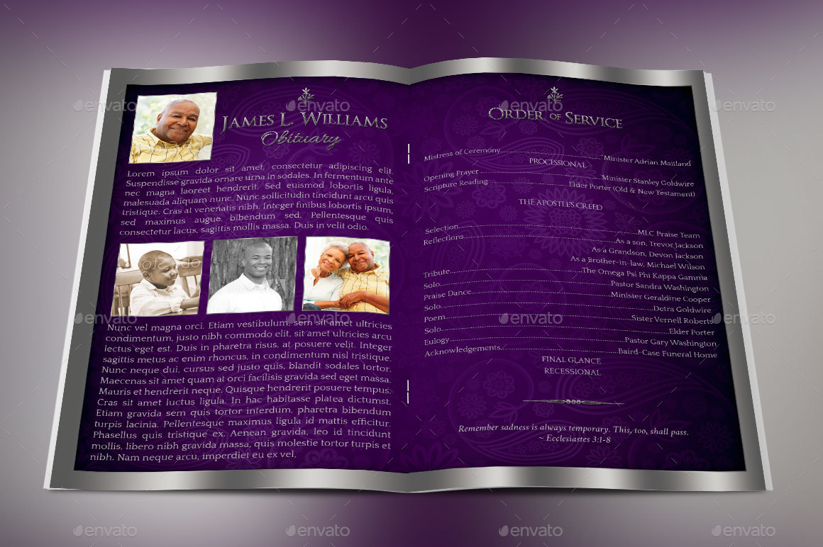 Preview Image Set/Lavender Dignity Funeral Program Preview 1a ...  Funeral Program Background