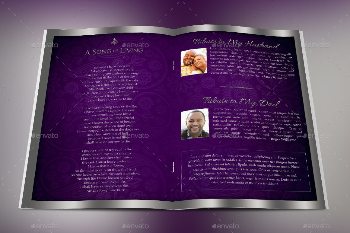 lavender dignity funeral program template by godserv2