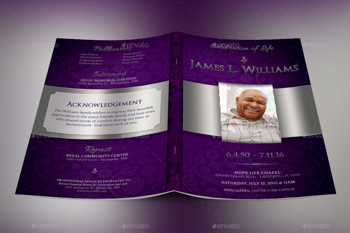 Lavender Dignity Funeral Program Template By Godserv2 Graphicriver