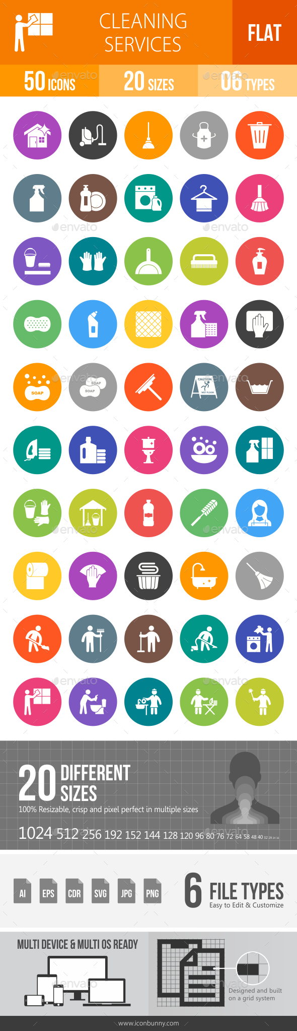 Cleaning Services Flat Round Icons - Icons