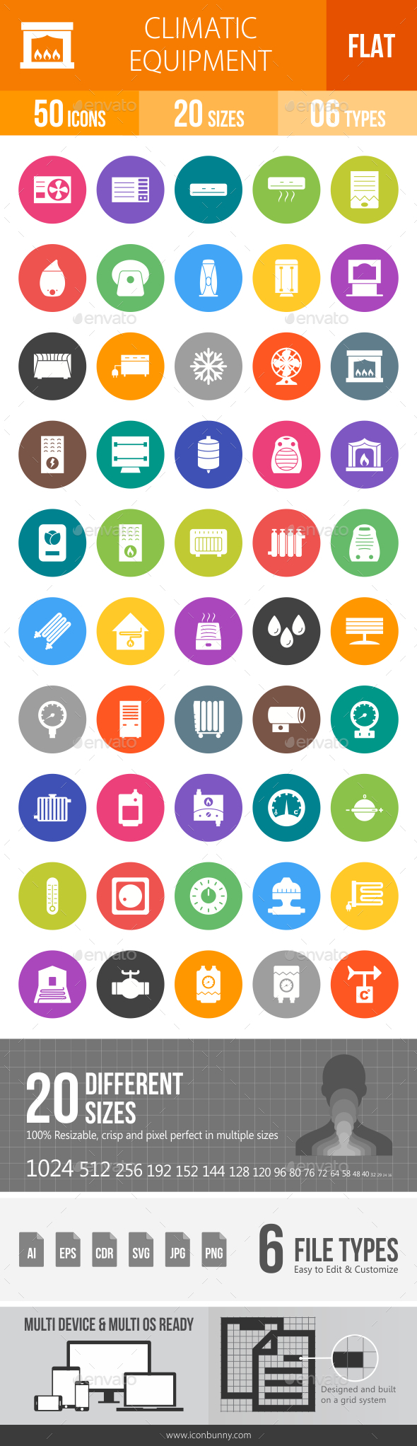 Climatic Equipment Flat Round Icons - Icons
