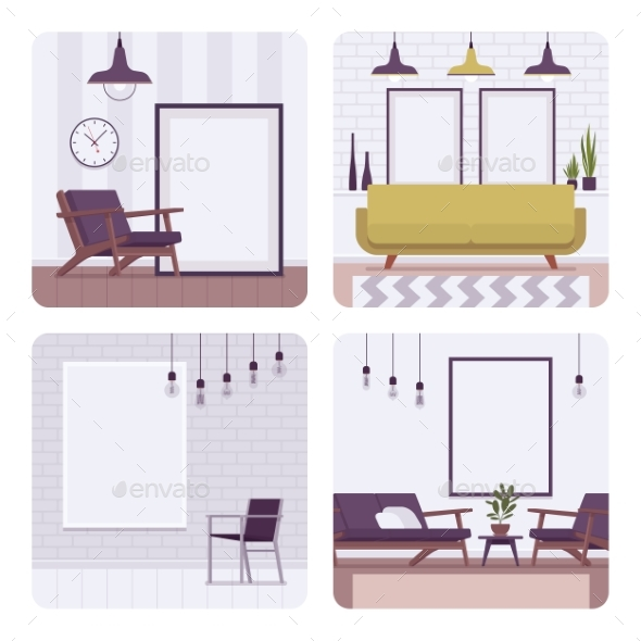 Set of Retro Interiors, Frames for Copyspace and - Man-made Objects Objects