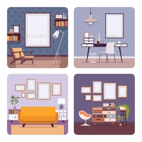Set of Retro Interiors, Frames for Copyspace - Man-made Objects Objects