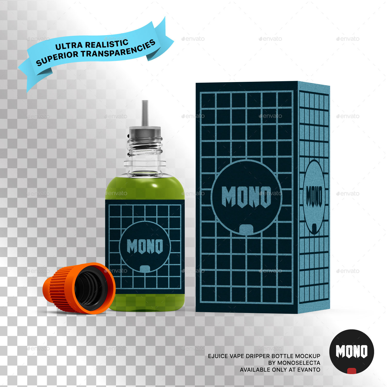 Sports Cap Logo Mockup Isolated: Ejuice Vape Dripper Bottle Mockup By Monoselecta