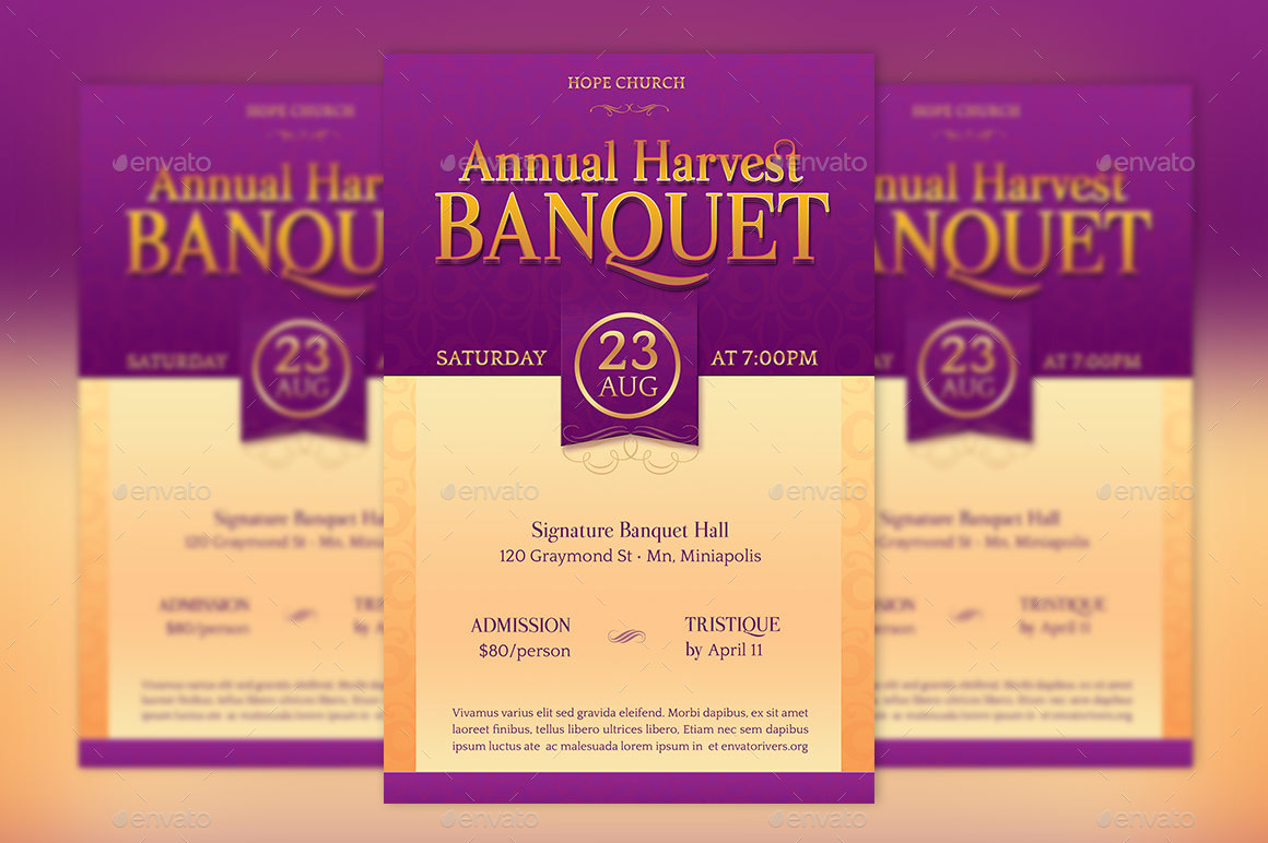 church harvest banquet flyer poster template by godserv2
