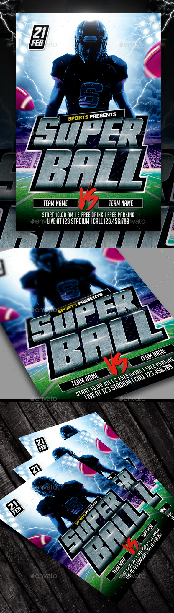 Super Ball American Football Flyer - Sports Events