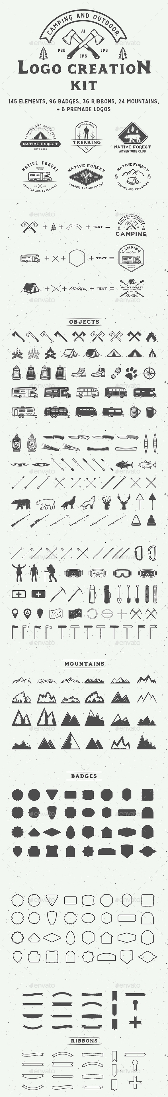 Camping Logo Creation Kit - Badges & Stickers Web Elements