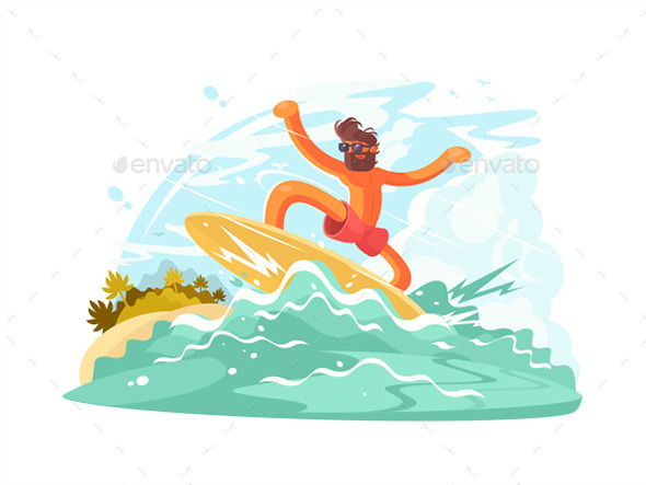 Surfer Guy in Sunglass - People Characters