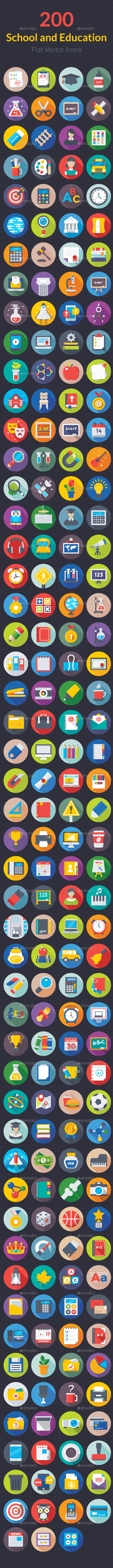 200 Flat School and Education Icons - Icons
