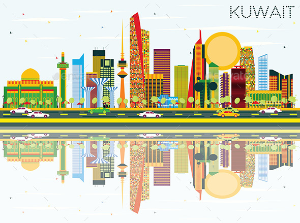 Kuwait Skyline with Color Buildings - Buildings Objects