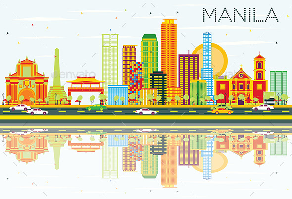 Manila Skyline with Color Buildings, Blue Sky and Reflections. - Buildings Objects