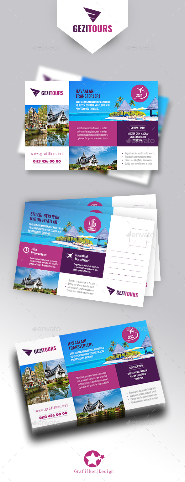 Travel Tours Postcard Templates - Cards & Invites Print Templates