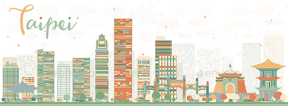 Abstract Taipei Skyline with Color Landmarks. - Buildings Objects