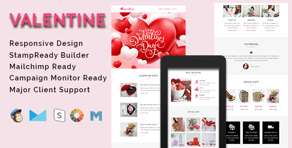 VALENTINE - Responsive Email Template With Stamp Ready Builder Access - Email Templates Marketing