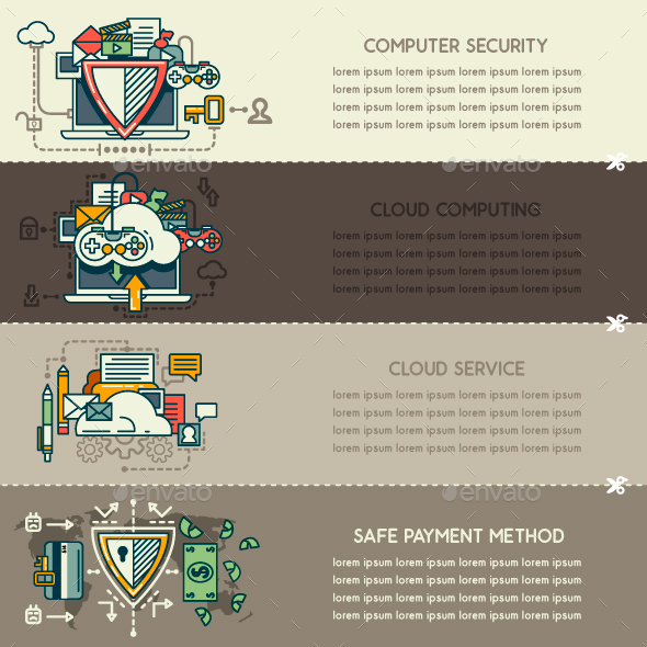 Set Twenty One of Internet Technology Banners - Technology Conceptual