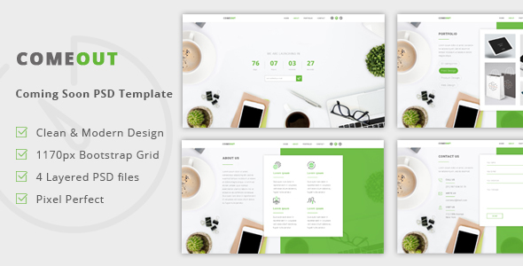 ComeOut – Coming Soon PSD Template