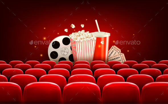 Cinema Background With A Film Reel Popcorn And Drink Vector - Media Technology