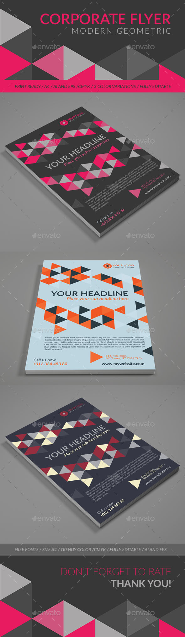 Modern Geometric Corporate Flyer with Triangle Pattern. - Corporate Flyers