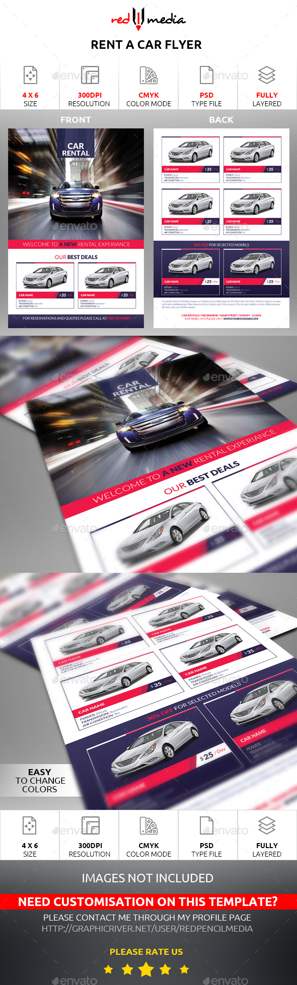 Rent a Car Flyer - Flyers Print Templates