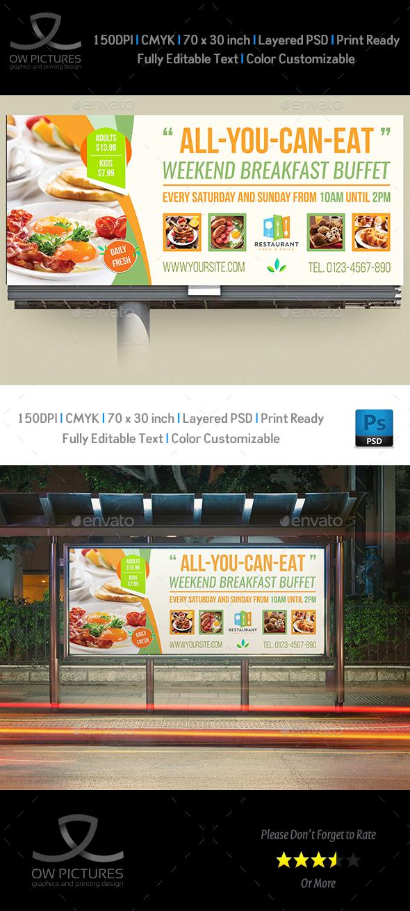 Breakfast Restaurant Billboard Template Vol2 - Signage Print Templates