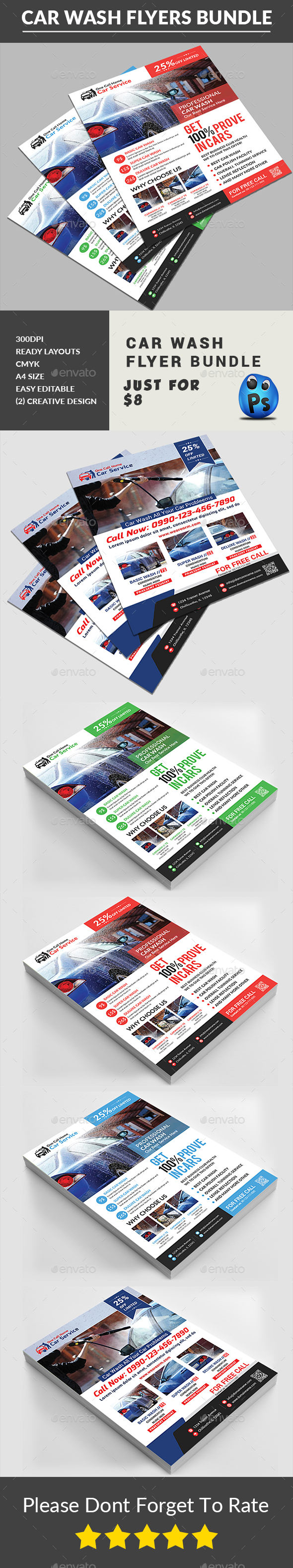 Car Wash Flyers Bundle - Corporate Flyers