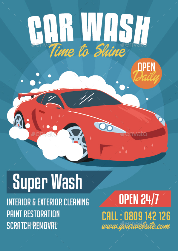 car wash flyer by bonezboyz graphicriver. Black Bedroom Furniture Sets. Home Design Ideas