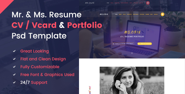 Mr. & Ms. Resume PSD Template - Virtual Business Card Personal