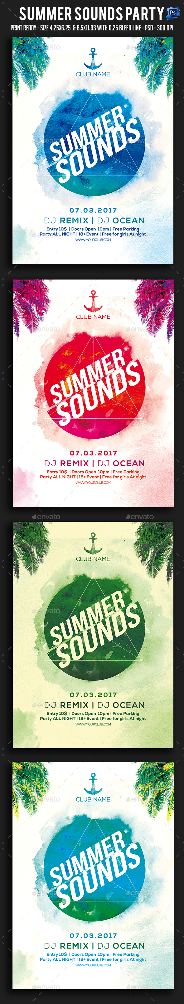 Summer Sounds Party Flyer - Clubs & Parties Events