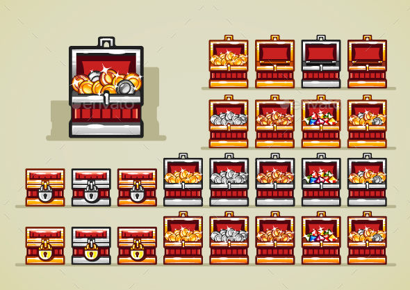 Red Chests for Video Game - Miscellaneous Game Assets