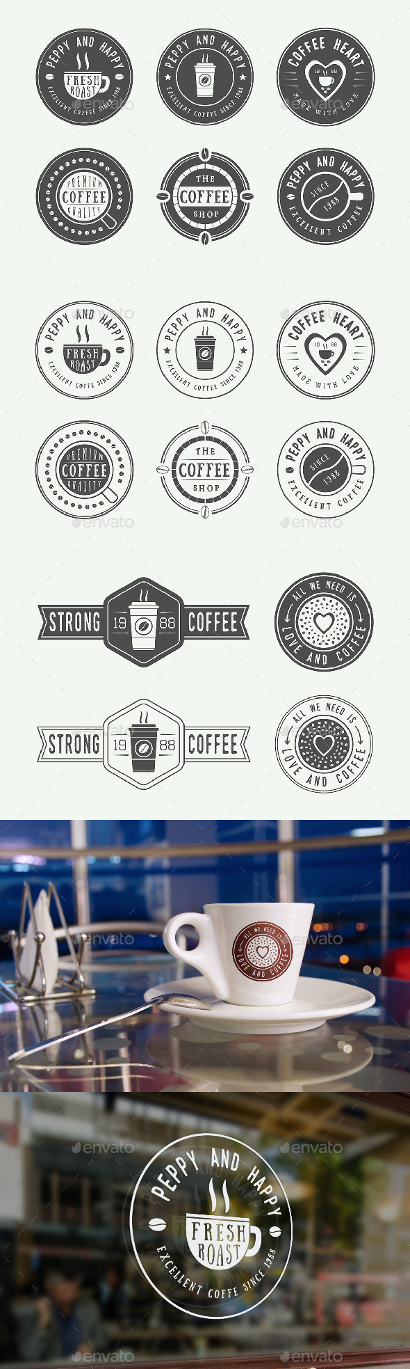 16 Coffee Emblems - Badges & Stickers Web Elements