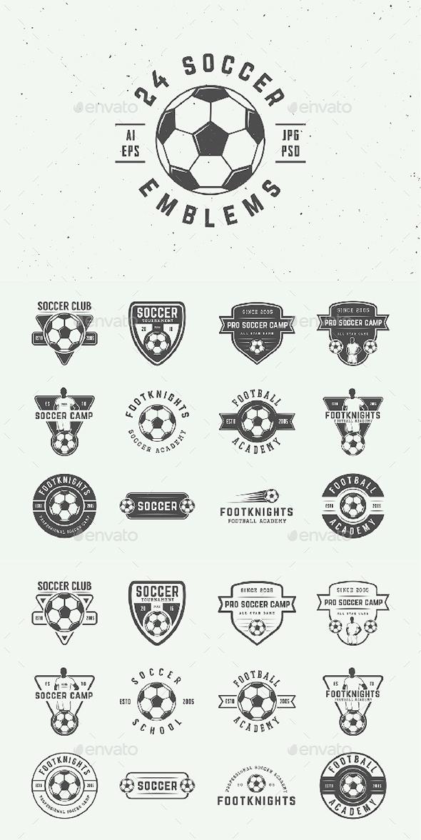 24 Vintage Soccer Emblems - Badges & Stickers Web Elements