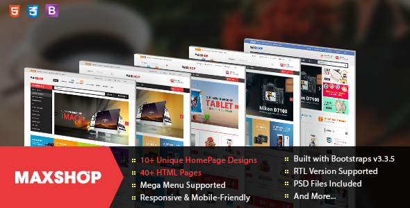 Maxshop - Responsive & Multi-Purpose eCommerce HTML Template - Retail Site Templates