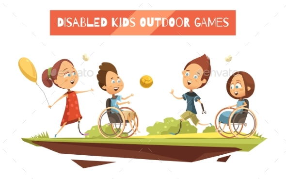 Outdoor Games Of Disabled Kids Illustration - People Characters