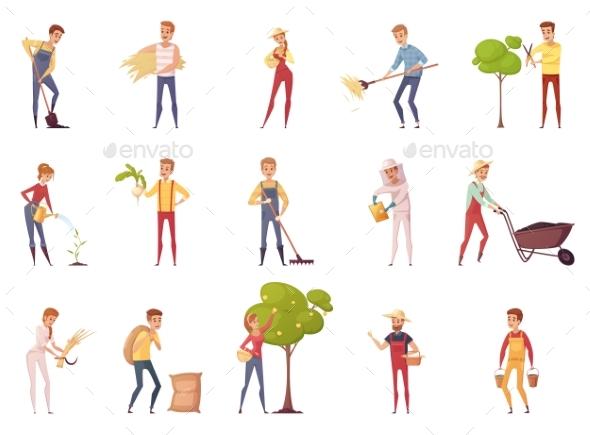 Gardener Characters Icon Set - People Characters