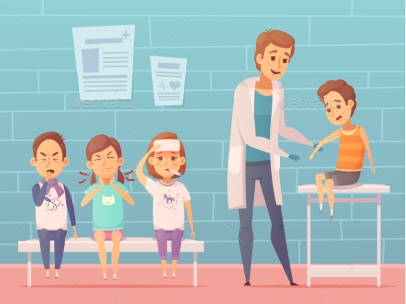 Children At Doctors Illustration - Backgrounds Decorative