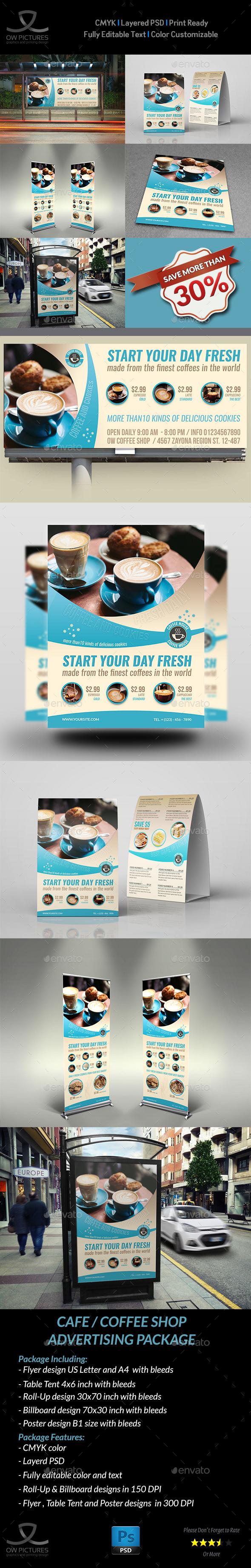 Cafe Advertising Bundle Vol.3 - Signage Print Templates