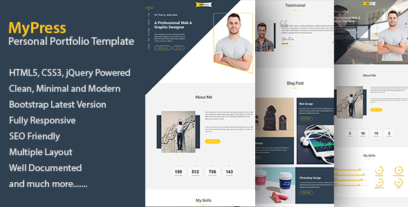 MyPress – Responsive Portfolio, CV, Resume Template