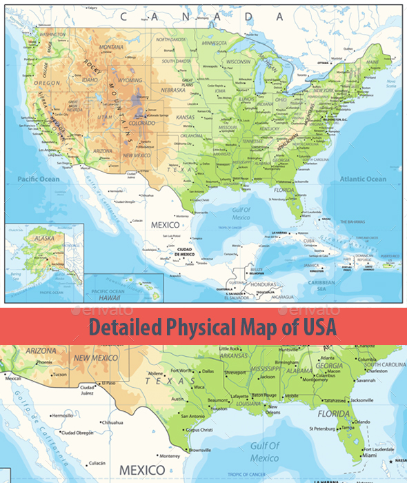 Detailed Physical Map Of Usa By Cartarium Graphicriver