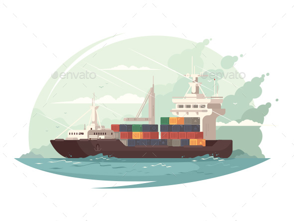 Container Ship in Sea - Objects Vectors