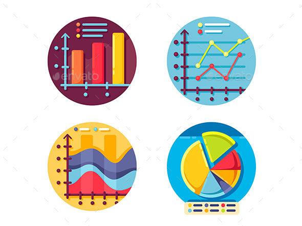 Graphs and Diagrams Icons Set - Web Elements Vectors