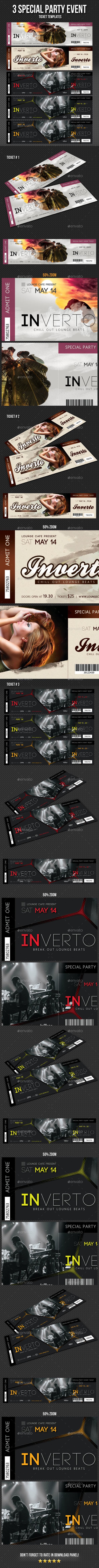 3 in 1 Special Party Event Ticket Bundle V04 - Cards & Invites Print Templates