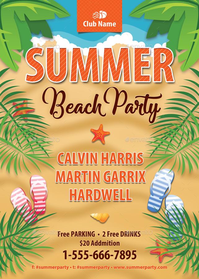 Summer Beach Vacation Flyer Template 139