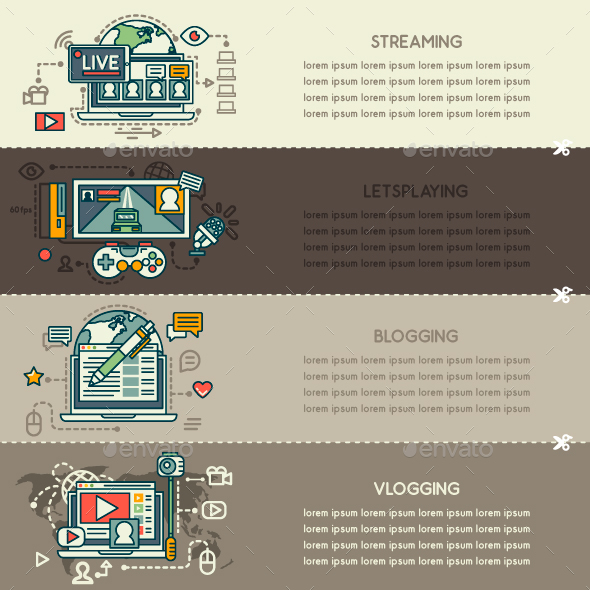 Set Twenty Three of Internet Technology Banners - Technology Conceptual
